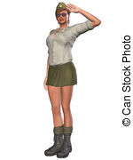 Army Pinup Girl   3d Render Of An Army Pinup Girl