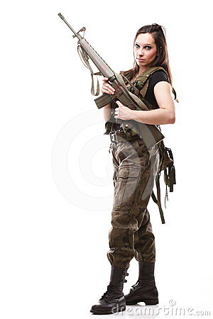 Army Woman With Gun   Woman With Rifle Plastic Stock Photos   Image