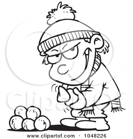 Cartoon Black And White Outline Design Of A Boy Gathering Snowballs
