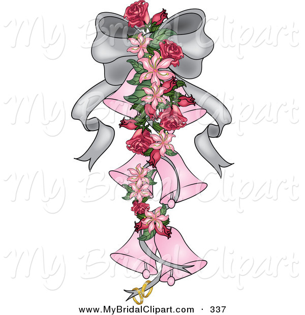 Clipart Of A Silver Ribbon With Lilies Roses And Pink Wedding Bells
