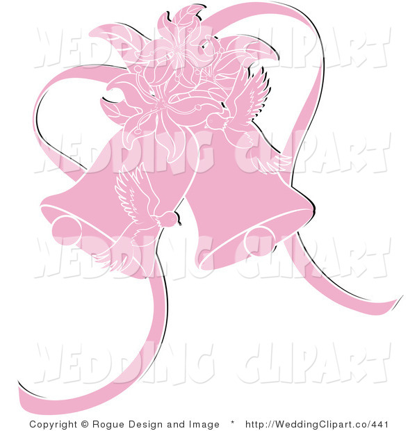 Clipart Of A Wedding Pink Doves With Lilies And Bells By Pams Clipart