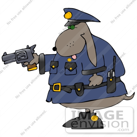 Clipart Of An Officer Dog Holding A Pistil   By