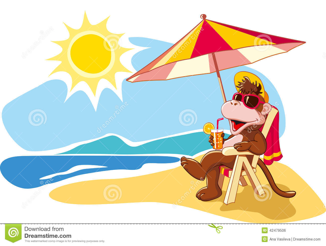 Funny Cartoon Monkey Relaxing On Beach Chair By Sea In Summer Vacation