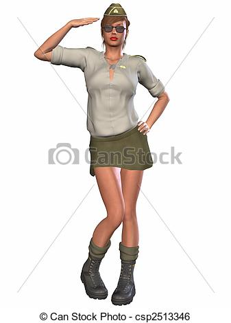 Illustration Of Army Pinup Girl   3d Render Of An Army Pinup Girl