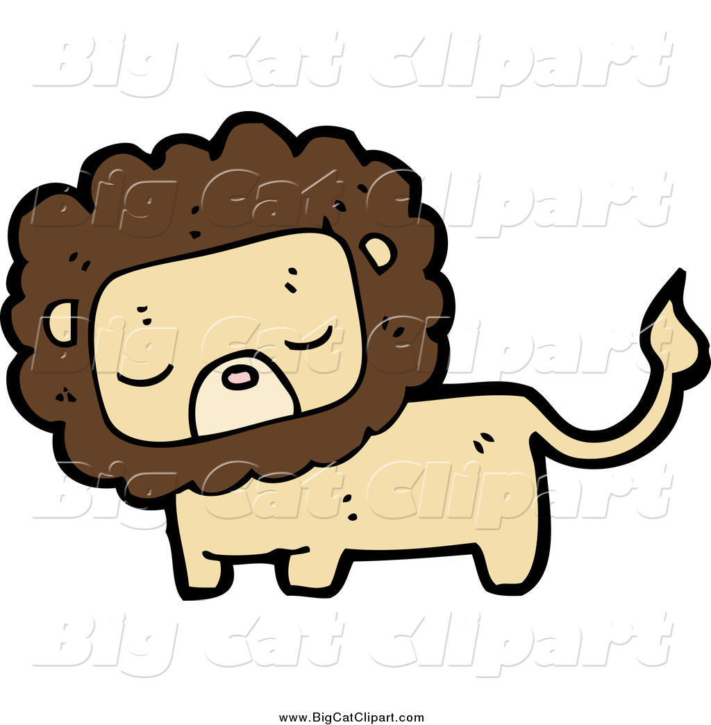 Larger Preview  Big Cat Cartoon Vector Clipart Of A Tan And Brown Lion