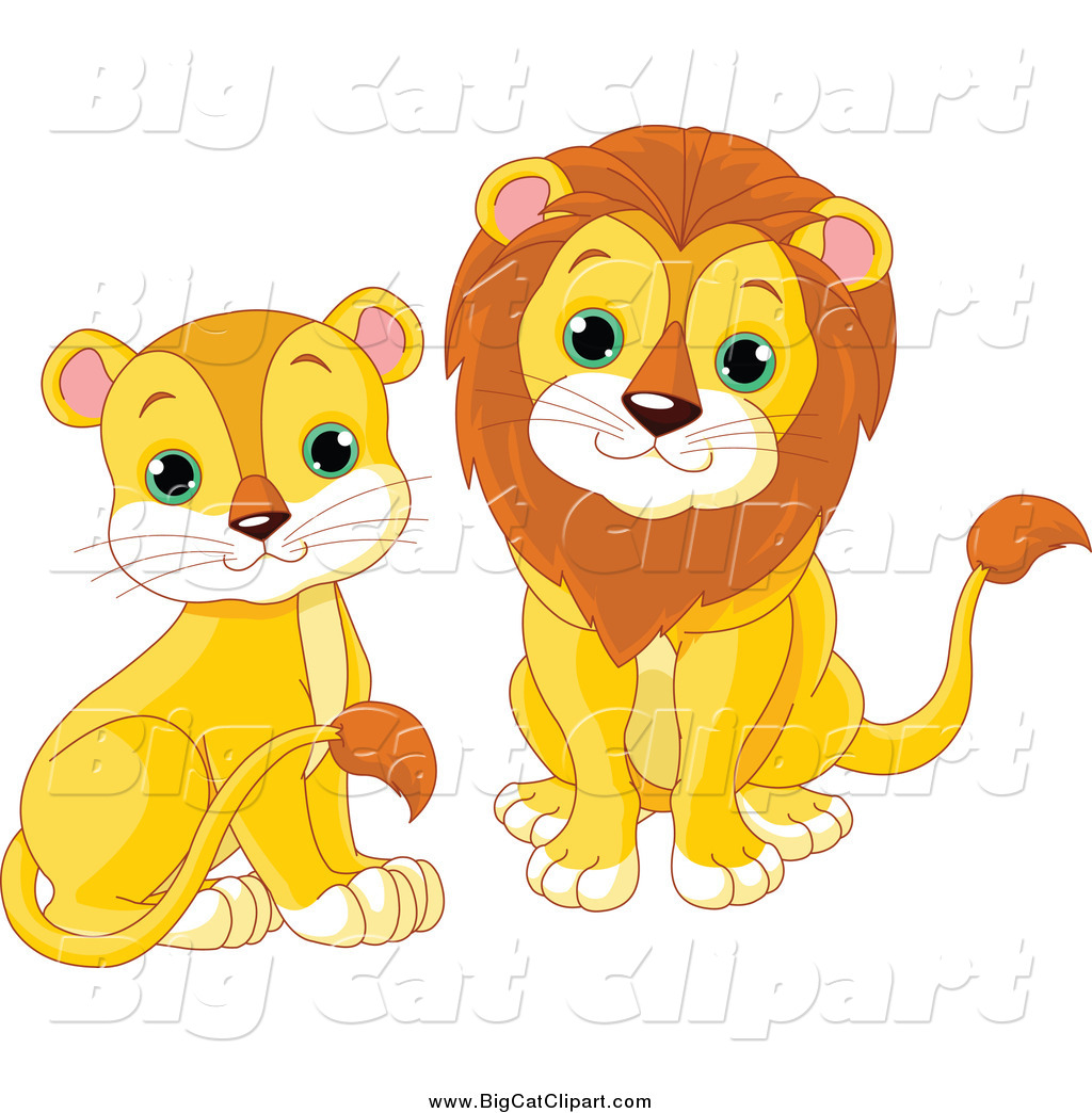 Larger Preview  Big Cat Cartoon Vector Clipart Of Cute Sitting Lions