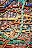 Border Rope Border Play And Climbing Net 3d Illustration Colored Yarn