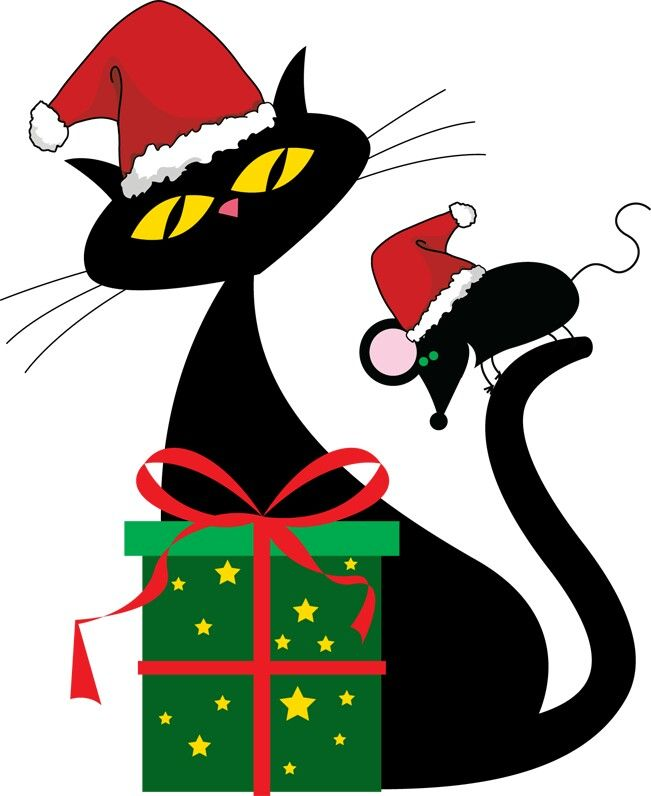 free christmas kitten clipart - photo #13