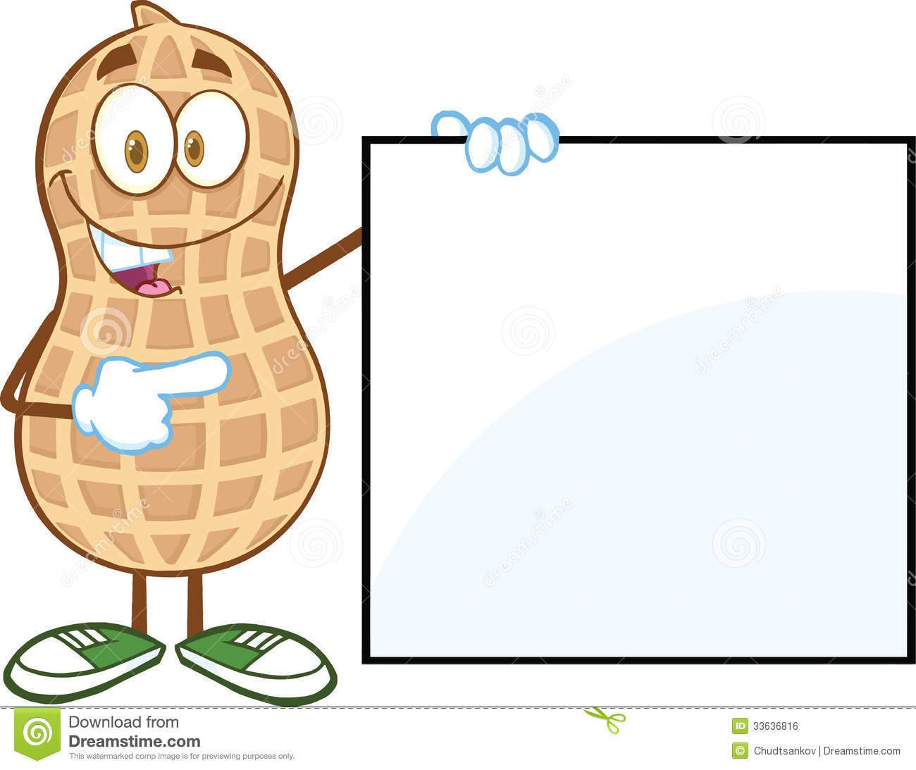 Happy Peanut Cartoon Mascot Character Showing A Blank Sign Royalty