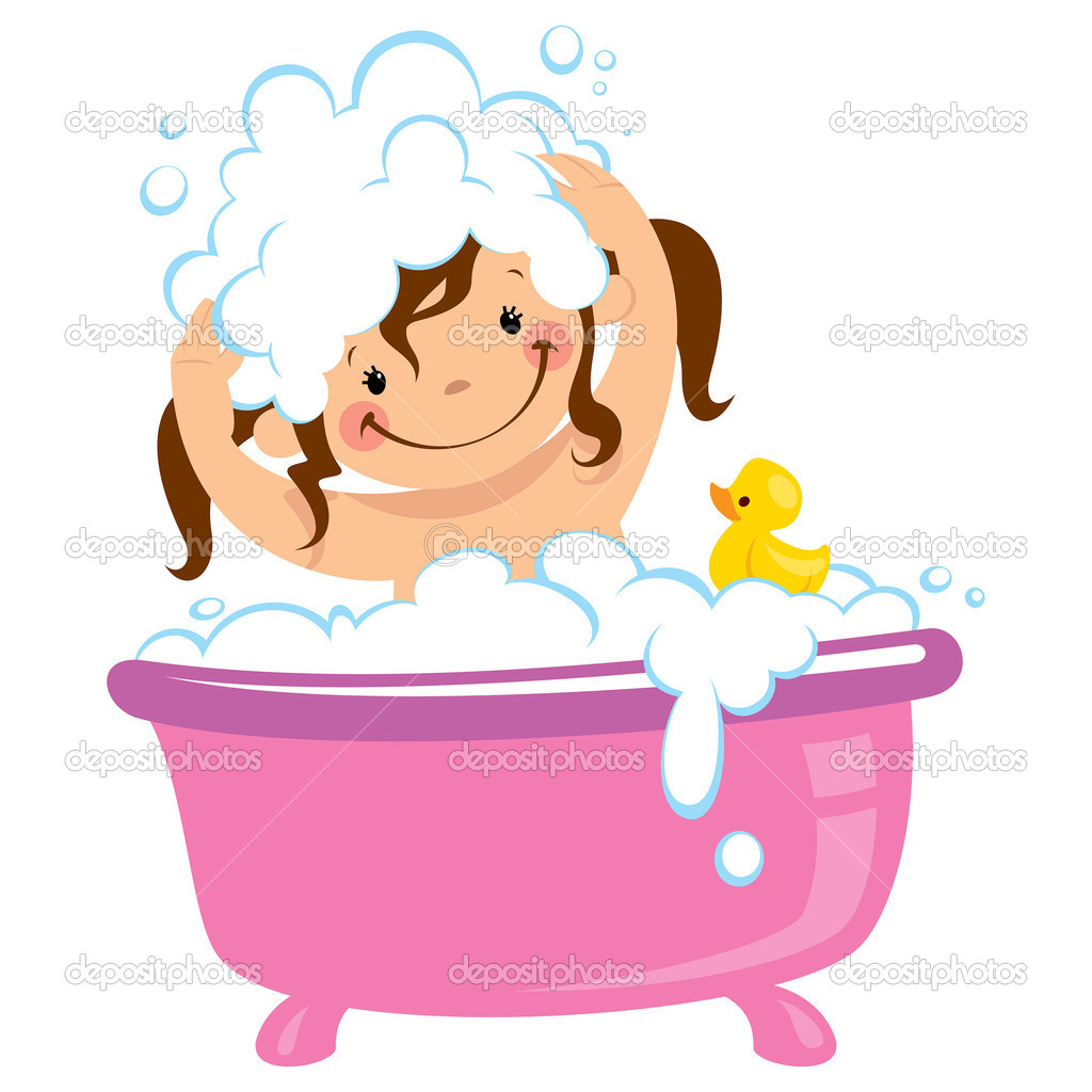 Girl Bath Time Clipart - Clipart Suggest