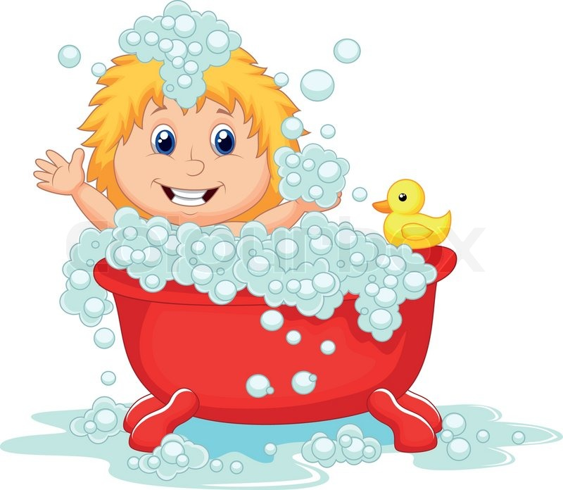 Of  Vector Illustration Of Girl Cartoon Bathing In The Red Bath Tub