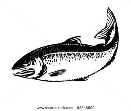Salmon   Retro Clipart Illustration   Stock Vector