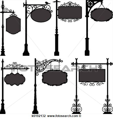 Clipart   Signage Sign Pole Frame Street  Fotosearch   Search Clip Art