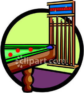 Cue Sticks At A Snooker Table   Royalty Free Clipart Picture