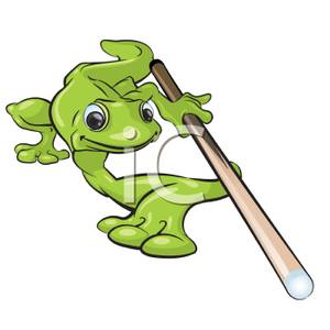 Lizard With A Pool Cue Clipart Picture