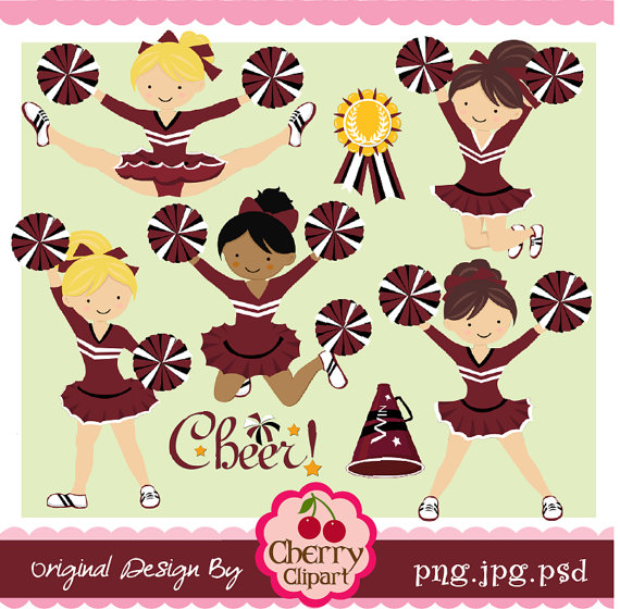 Maroon Black And White Cheerleader Digital Clipart Set For  Personal