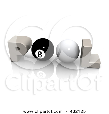 Rf  Clipart Illustration Of A 3d Word Pool With A Cue And Eight Ball