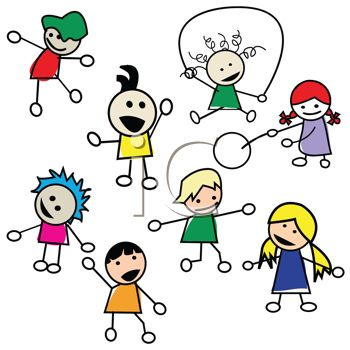 0118 1935 Stick Figures Of Preschool Kids Playing Clipart Image Jpg