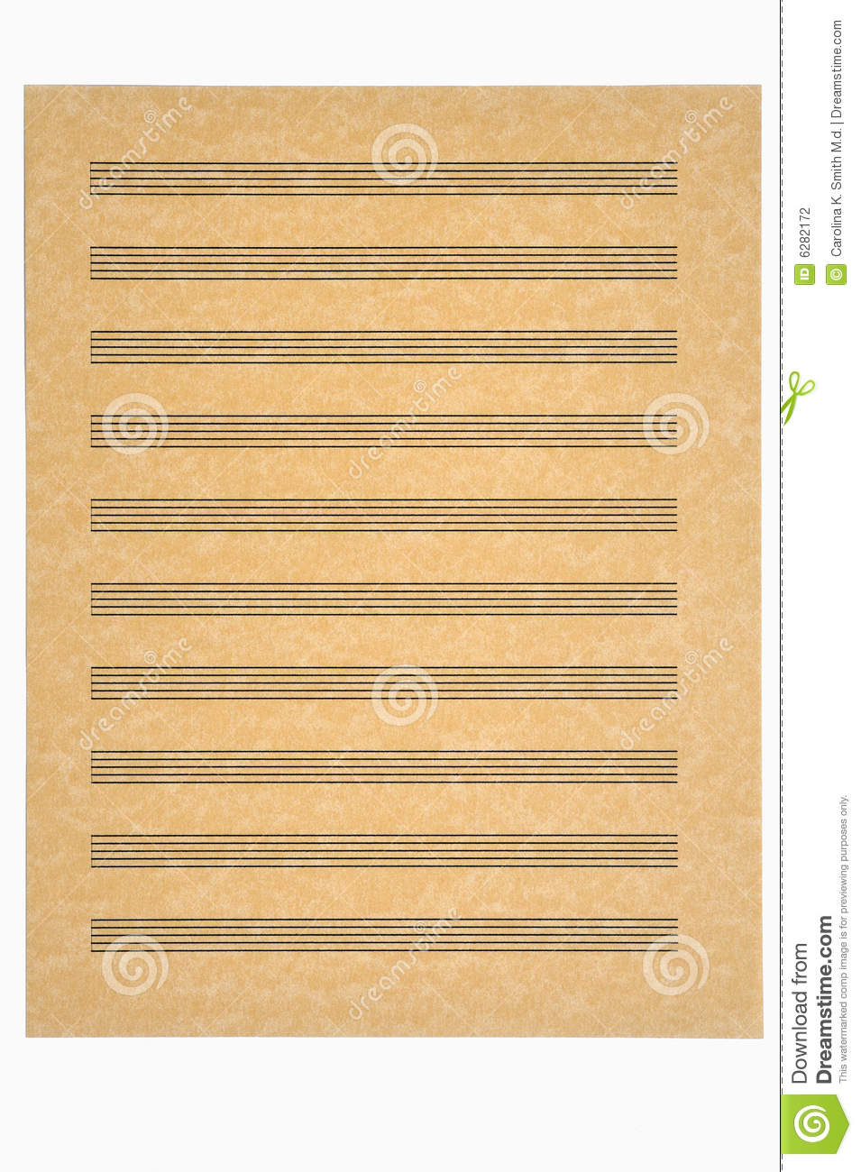 Blank Music Sheet With 10 Staves On Parchment Paper Ready For Your