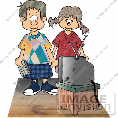 Boy And Girl Watching Tv Clipart    17480 By Djart   Royalty Free