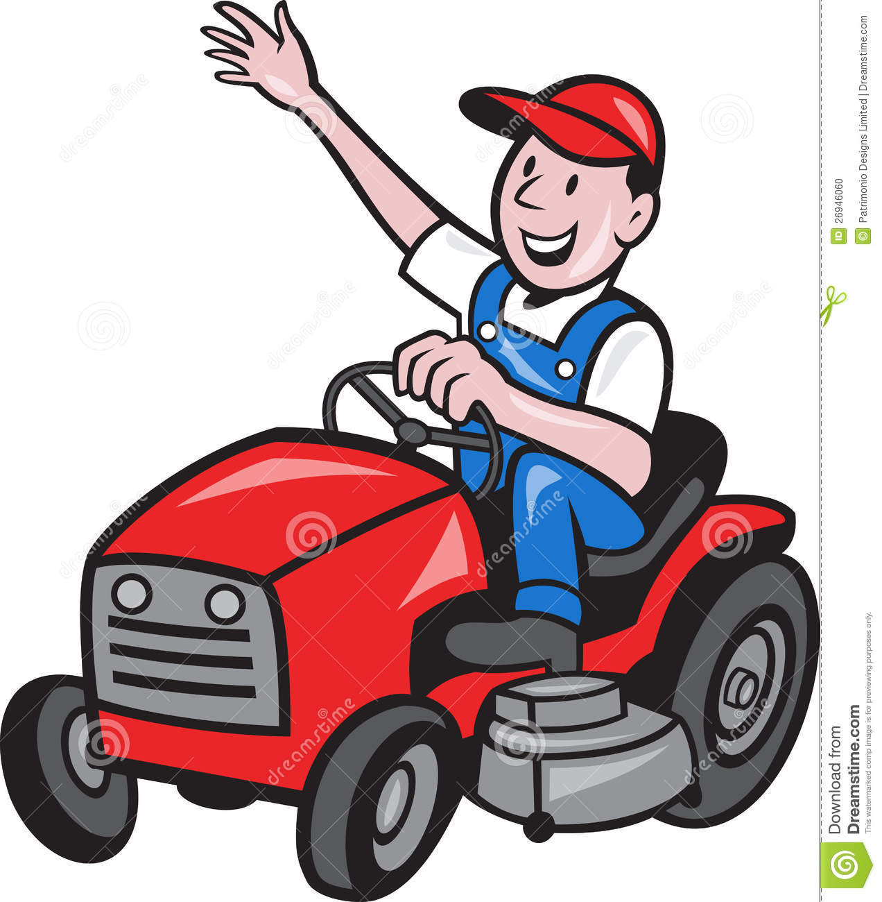 Cartoon Riding Lawn Mower Farmer Driving Ride On Mower