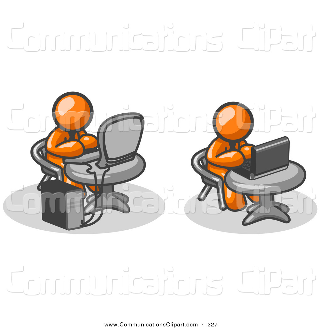 Communication Clipart Of A Couple Of Orange Men Employees Working On