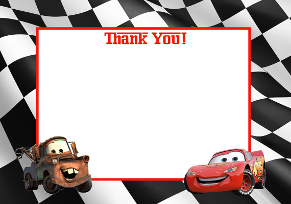 Disney Cars Printable Thank You Card Lightening Mcqueen And Tow Mater