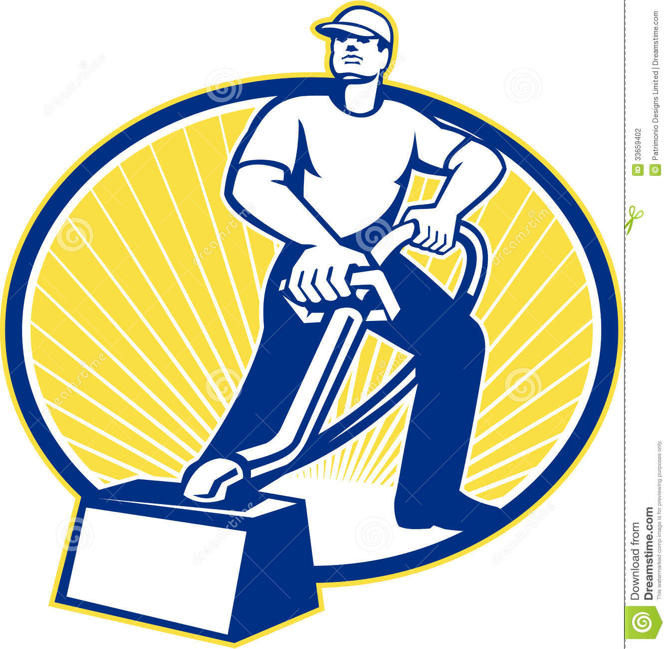 Illustration Of A Carpet Cleaner Worker Vacuuming With Vacuum Cleaner