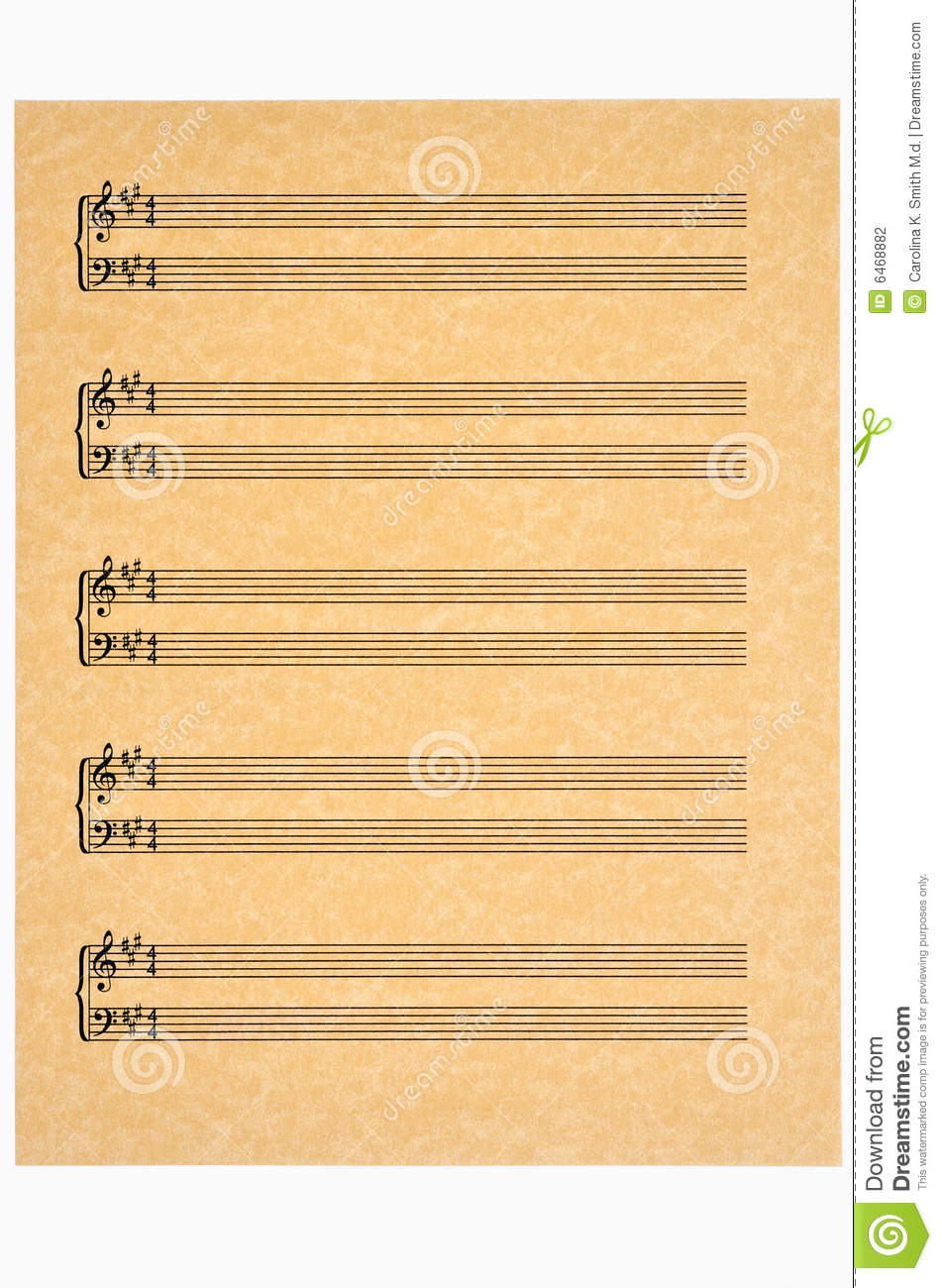 Key Of A In 4 4 Time Blank Music Sheet On Parchment Paper Ready For