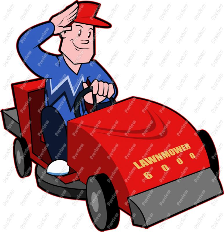 Man Riding Lawn Mower Clip Art