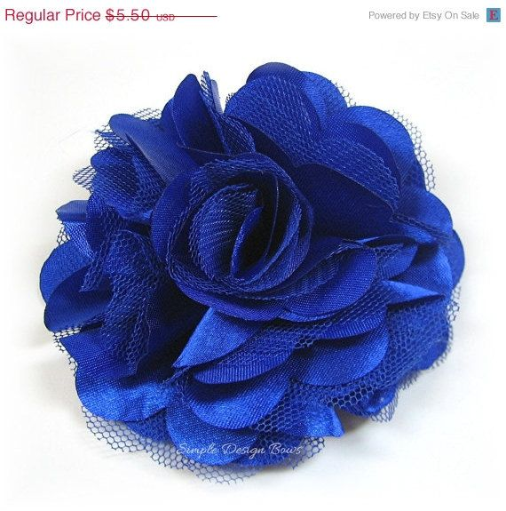 On Sale Royal Blue Flower Hair Clip Or Brooch By Simpledesignbows  4