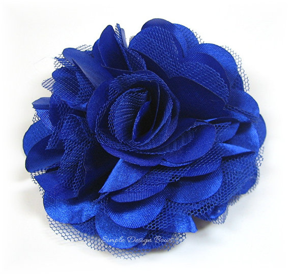 Royal Blue Hair Flower   Satin Hair Flower   Royal Blue Flower Clip