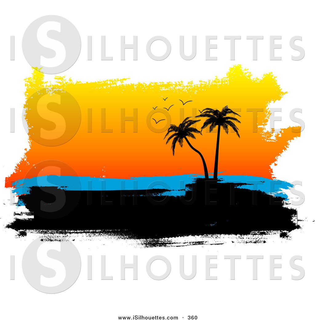 Silhouette Clipart Of A Black Silhouetted Tropical Island With Palm