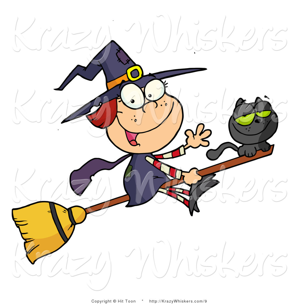 Vector Kitty Clipart Of A Cute Witch And Black Cat On A Broomstick