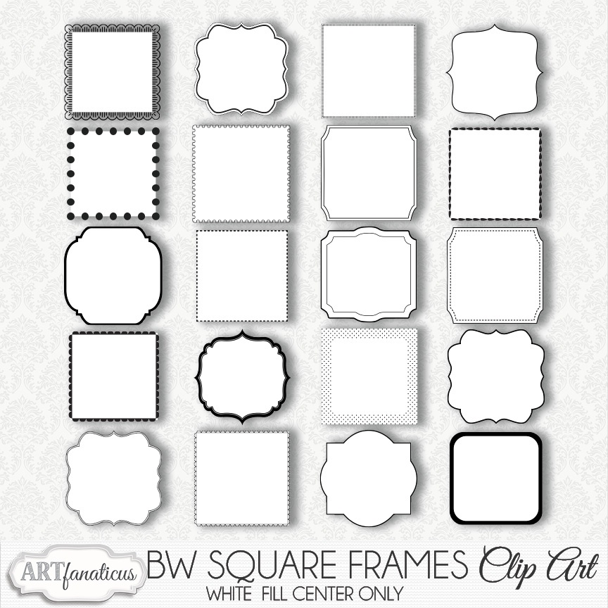 Black   White Square Frames Clipart   3 0mb  Zip File   Sellfy Com