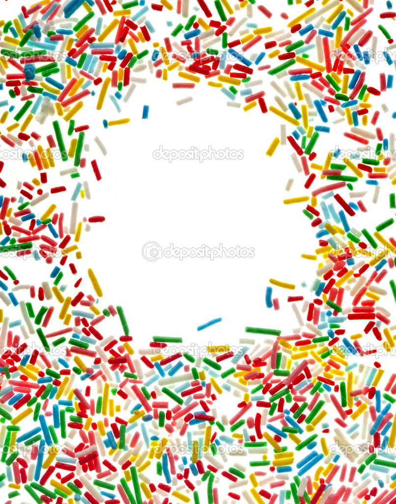 Border Frame Of Colorful Candy Sprinkles Isolated On White Background