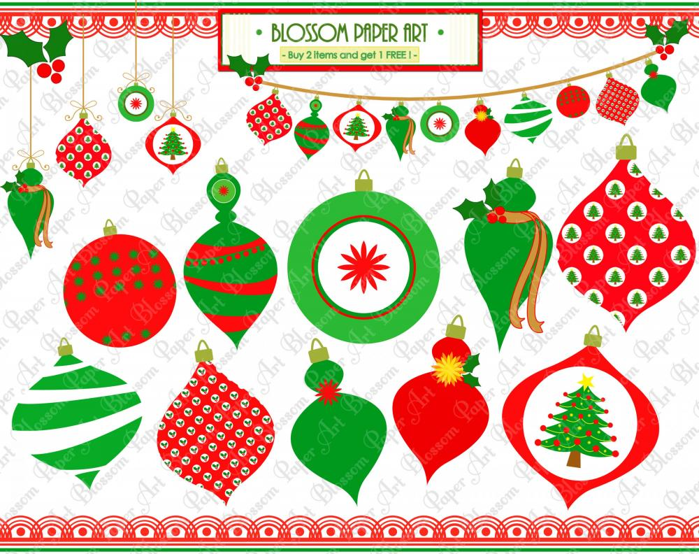 Christmas Clipart   Ornament   Bunting   Set Of Ornaments   Diy