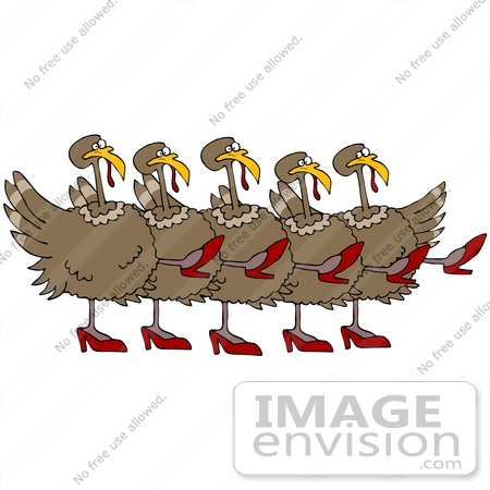 Clip Art Graphic Of A Chorus Line Of Dancing Turkey Birds Wearing High
