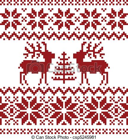 Clip Art Of Christmas Norwegian Pattern   Collection Of Christmas