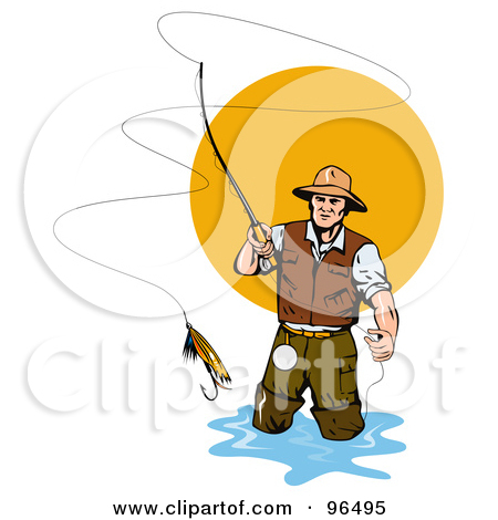Clipart Illustration Of A Fly Fisherman Casting The Bait By Patrimonio