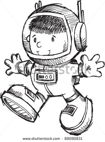 Cute Astronaut Bot Sketch Doodle Vector Art Illustration   Stock