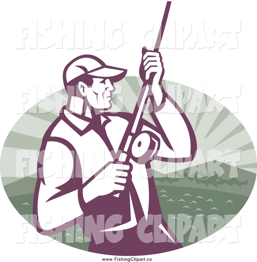 Larger Preview  Clip Art Of A Fly Fisherman Reeling In His Catch Over