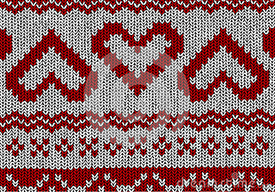 Norwegian Pattern With Hearts   Christmas Vector