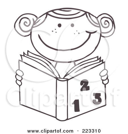 Rf  Clipart Illustration Of A Coloring Page Outline Of A School Girl