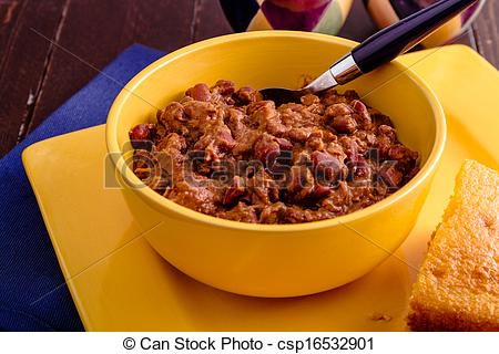 Stock Photography Of Elk Chili And Cornbread   Yellow Bowl Filled With