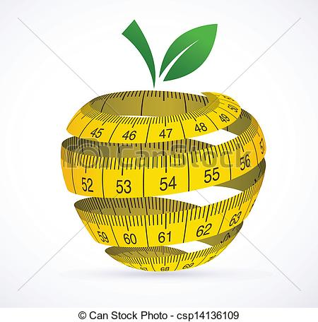 Vector   Apple And Measuring Tape Diet Symbol   Stock Illustration