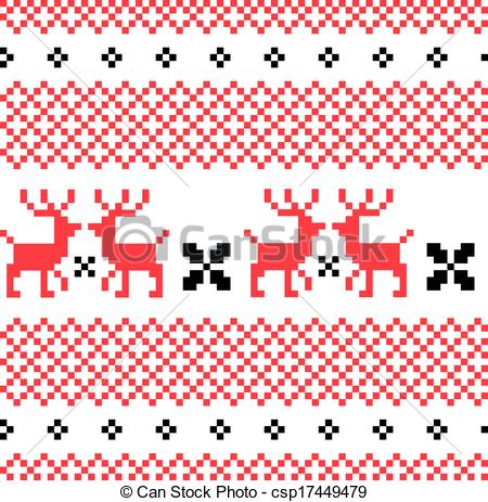 Vectors Illustration Of Norwegian Ornamental Christmas Pattern Red And