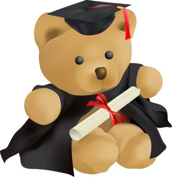 Clip Art Of A Teddy Bear Graduating With Cap Gown And Diploma