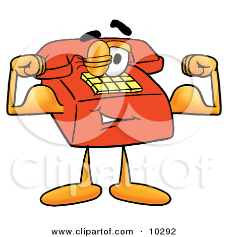 Clipart Picture Of A Red Telephone Mascot Cartoon Character Flexing