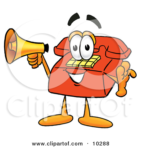 Clipart Picture Of A Red Telephone Mascot Cartoon Character Holding A